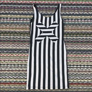 Black and White Vertical  stripe sleeveless mini